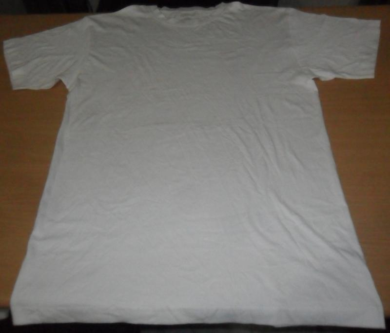 Mens S/S RIB R/N White Basic T
